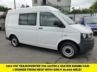 2013 VOLKSWAGEN TRANSPORTER T30 102TDI SWB SEMI HI ROOF 6 SEATER KOMBI VAN WITH