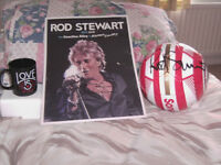rod stewart BRAND NEW signed football, signed print/poster + mug all items are new