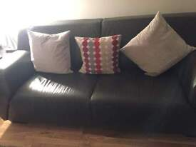 Dark Brown Leather Housing Units Sofa and Armchair, immaculate condition