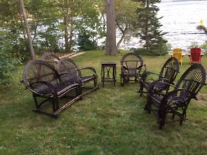 Bent Willow Furniture - 5 item set: 3 chairs, 1 couch, 1 table