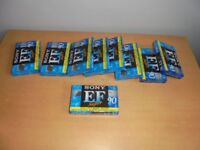 9 Cassette tapes Sony EF90 sealed never used retro