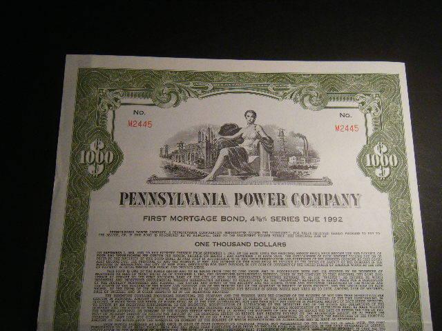 HUGE $1000 Pennsylvania Power Company 1962 30-Year 4 3/8% Bearer Bond HUGE