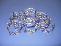 Napkin rings (6) Silver with blue coloured beading