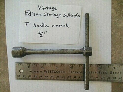 """RARE  EDISON STORAGE BATTERY CO 1/2""""  """"T"""" HANDLE WRENCH- NO.964A-VINTAGE TOOL US"""
