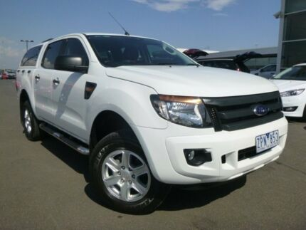 2013 Ford Ranger PX XL Double Cab 4x2 Hi-Rider White 6 Speed Manual Utility