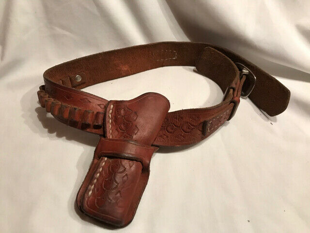 Vintage Small Tooled Leather Holster Ammo Belt