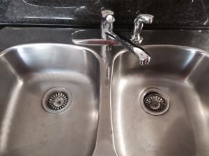 Double Stainless steel Kitchen sink with Moen Faucet and sprayer