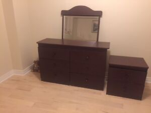 Dresser with 6 drawers and night table