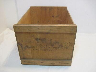 "VINTAGE WOODEN 3 SLATTED APPLE FRUIT CRATES RUSTIC OLD BUSHEL BOX SHABBY CHIC /""/"""