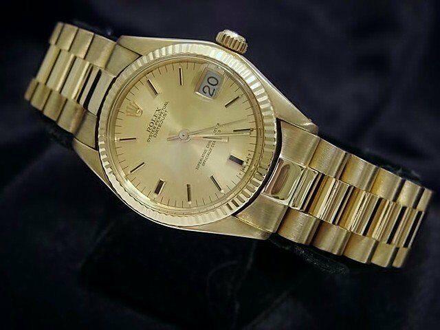 Rolex Datejust President 6827 Midsize 18k Yellow Gold Watch Champagne Dial 31mm