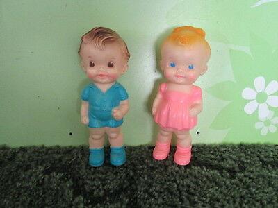 Vintage Sun Rubber Co. Ruth E Newton Boy & Girl Doll Toy  Squeak Squeeze Squeaky
