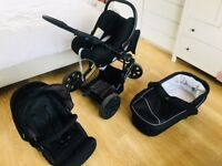 BRITAX B SMART 3 WHEELER PRAM SYSTEM WITH CAR SEAT, INFANT SEAT AND ISOFIX