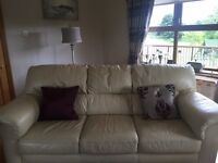 CREAM LEATHER 3 +1 PLUS FABRIC 2 SEATER + CUSHIONS