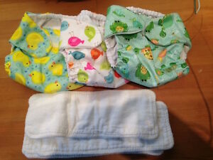 Full set of reusable diapers and covers - newborn to 17 pounds