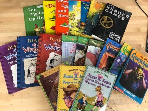Kids Book Bundle lot 19 Books Junie B, Dr Seuss, Wimpy Kid, Arch, Magic Tree
