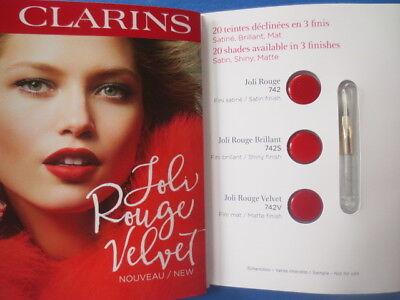 CLARINS joli rouge velvet lipstick carded sample of 3 + lip (Clarins New Lip Brush)