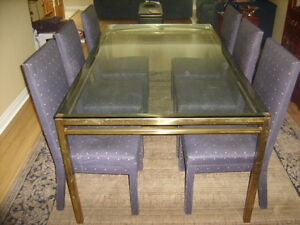 "Brass/Glass table (74""x42"") & 6 parsons chairs"