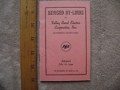 1954 Revised By-Laws for Valley Rural Electric Cooperative, Huntingdon, PA