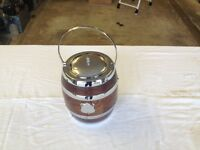 Wood and chrome biscuit barrel/ice bucket