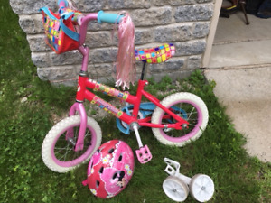 Vélo bicyclette tricycle 12 pouces casque Mickey Mouse