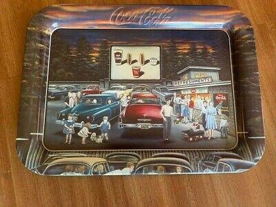 Original 2001 COCA-COLA  Metal Advertising Tray 1950's Drive-in Theatre..