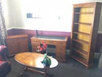 Home Desk (leather inlay), Bookcase, Coffee Table, Lockable Cabinet (ALL YEW)