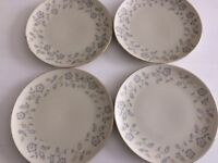 4 X Blue Grey Floral Design Side Plates, China