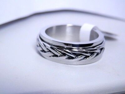 SPINNER RING STAINLESS STEEL ANTIQUED WOVEN SPIN RING BAND RING SIZES 7 - 13 ()