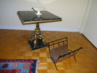 Marble & Bronze Side Table