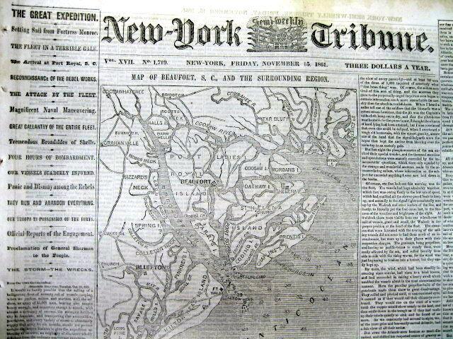 1861 Civil War newspaper Lrg MAP of BEAUFORT & Hilton Head Island SOUTH CAROLINA