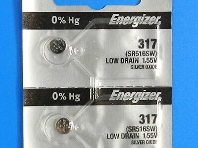 Energizer 317 SR516SW  Watch Batteries Button Cell, 2 Pcs