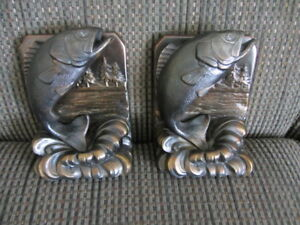 Vintage Pair of Bronze Bass (Fish) Book Ends