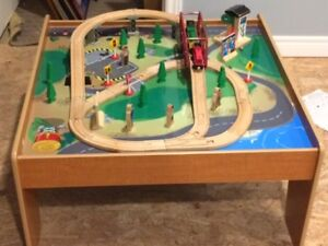 Kids TRAIN TABLE with Trains and Accessories Play Table