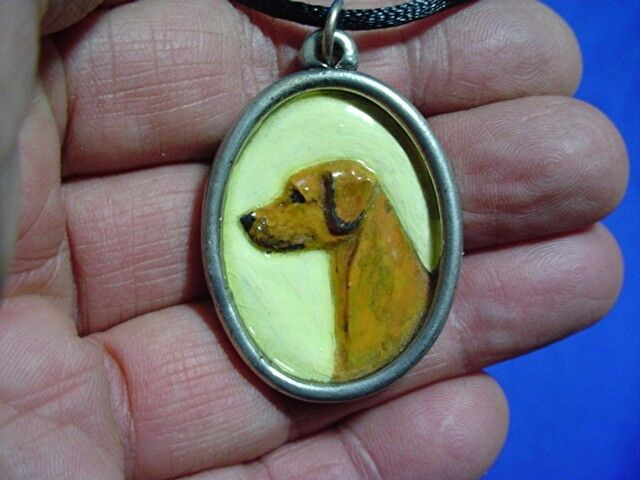Pewter Cameo Rhodesian Ridgeback necklace Hand painted Sighthound Dog Jewelry Y