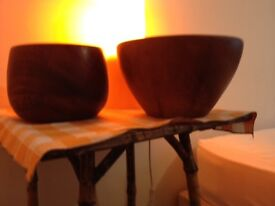 x two wooden salad bowls, good condition