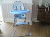 baby s' folding high chair with large lift swing -up tray southbourne