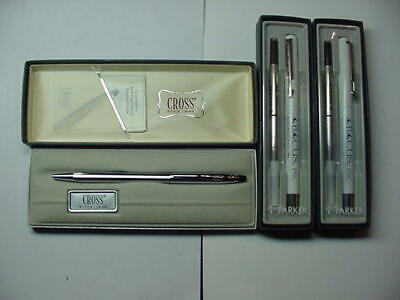 3 Vintage New Ink Pens Cross #3502 and 2 Parker Ballpoint Pens FREE SHIPPING