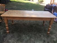 Solid Pine Table & Six Pine Chairs