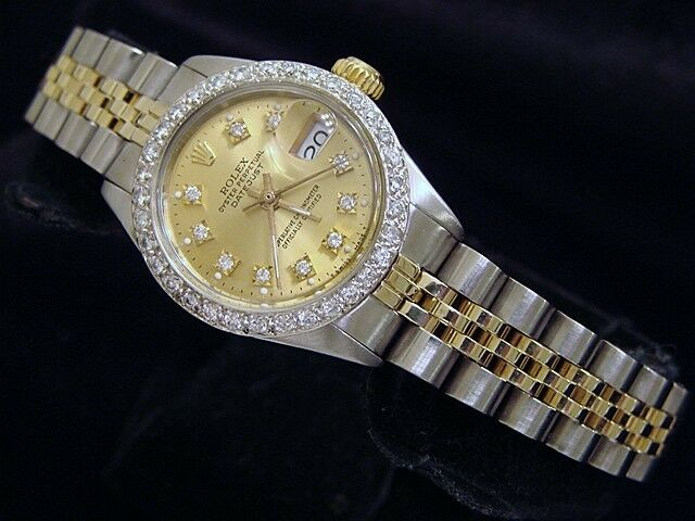Rolex Datejust Yellow Gold & Steel Watch Diamond Dial White Gold 1ct Bezel