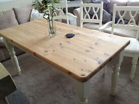 Farmhouse Solid Pine Table & 6 Chairs (2 Carver & 4 Regular) Painted & Waxed