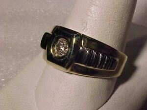 #3529-ROLEX STYLE MAN`s DIAMOND (.29ct) RING Size11--10k y/w/gold-Appraised $2,150.00 Yours for just $775.00 free s/h
