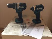 new makita 18v brushless dhp484 combidrill + dtd153 impact driver. dhp484z + dtd153z