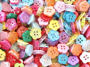 Lot of 100 Glitter Flower Buttons Mixed Colors Sewing Craft B166
