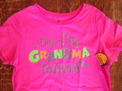 HOT PINK Halloween s/s T-shirt *THIS IS MY GRANDMA COSTUME glitter design *S 4-6