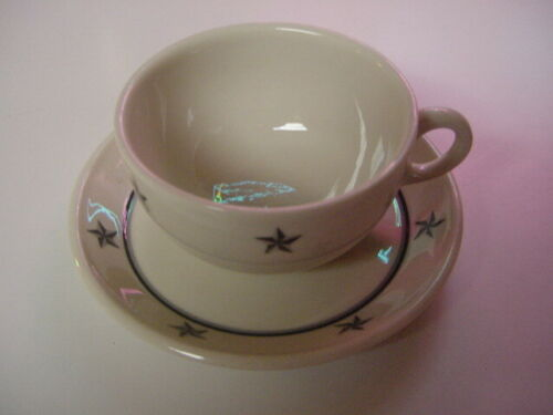 SS UNITED STATES LINES  Cup & Saucer  /  Lamberton China  /  Perfect Condition