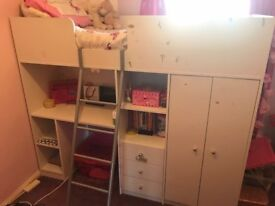 Childrens Bed Cabin Bed with Wardrobe