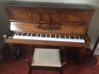 Upright piano and stool with storage. J&J Hopkinson London.