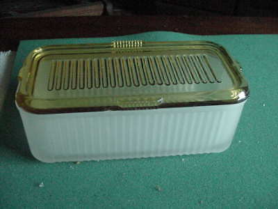 Vintage Rectangular Refrigerator Storage Dish, Frosted and Amber, Ribbed