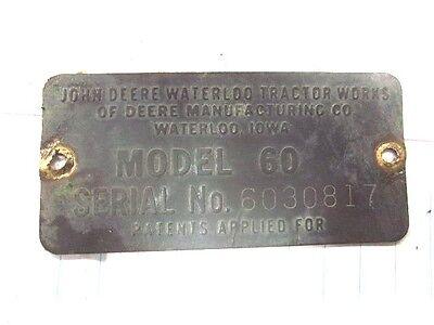 John Deere 60 Tractor Serial Number Tag S.n 6030817 Came Off 1954 Model