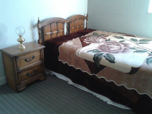 Queen Bed, Box, Mattress with two night stand just for 300$